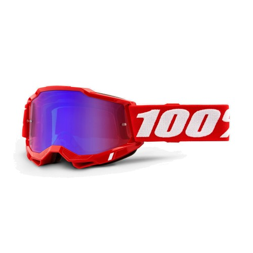 100% - ACCURI 2 - NEON RED MIRROR RED BLUE LENS