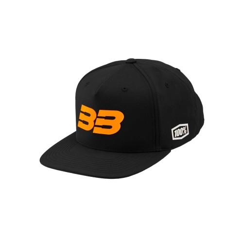 100% - HAT - BB33 SNAPBACK HAT BLACK FLUO ORANGE