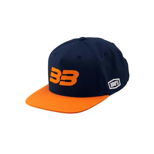 100% - HAT - BB33 SNAPBACK HAT NAVY ORANGE
