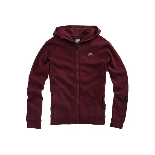 100% - FLEECE - CHAMBER ZIP HOODED SWEATSHIRT - BURGANDY