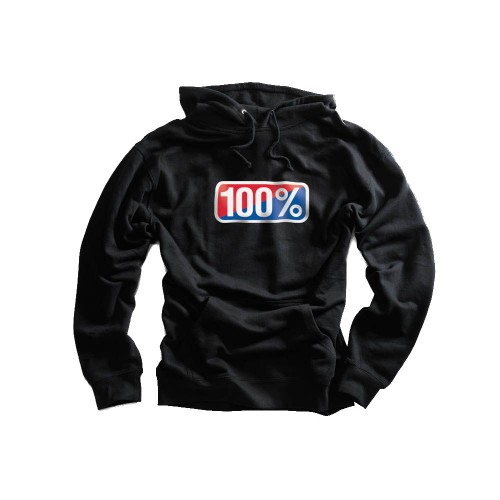 100% - FLEECE - CLASSIC HOODED SWEATSHIRT - BLACK
