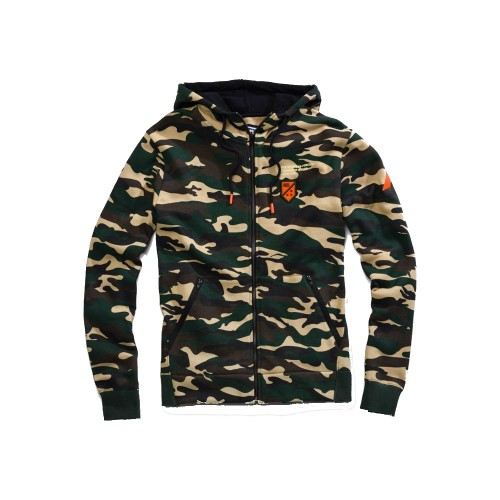100% - FLEECE - INTERVAL ZIP HOODED SWEATSHIRT - CAMO