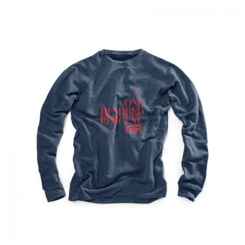 100% - FLEECE - STENCIL CREWNECK SWEATSHIRT - NAVY HEATHER