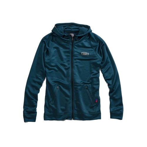 100% - FLEECE - UNION ZIP HOODED SWEATSHIRT - DARK TEAL