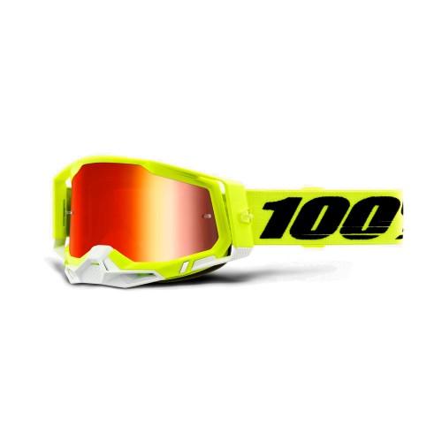 100% - RACECRAFT 2 - FLUO YELLOW MIRROR RED LENS