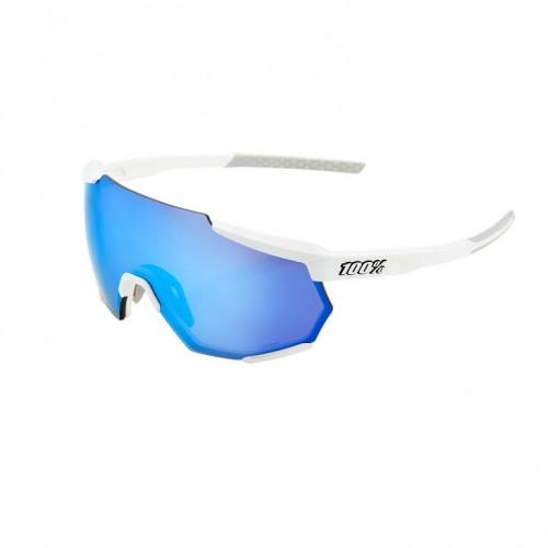 100% - RACETRAP - MATTE WHITE HIPER BLUE MULTILAYER MIRROR LENS