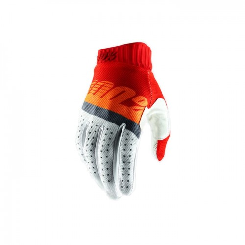 100% - RIDEFIT GLOVE - RED FLUO ORANGE SLATE BLUE