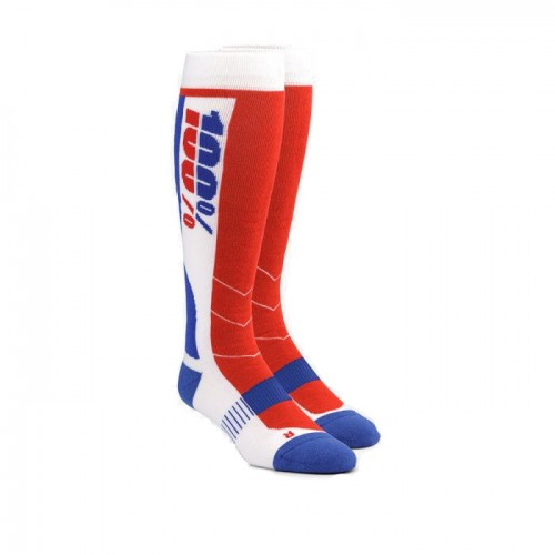 100% - SOCKS - HI SIDE PERFORMANCE MOTO SOCK - WHITE