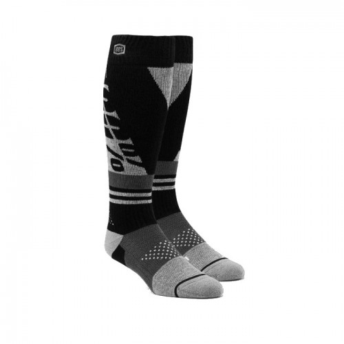 100% - SOCKS - TORQUE COMFORT MOTO SOCK - BLACK GREY