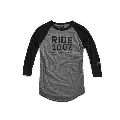 100% - SHIRT - SANCTION 3/4 SLEEVE TECH TEE BLACK GREY