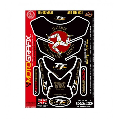 I.O.M TT RACES OFFICIALS LICENSED  BLACK / GOLD 3D GEL TANK PAD PROTECTOR - IOMTT04K