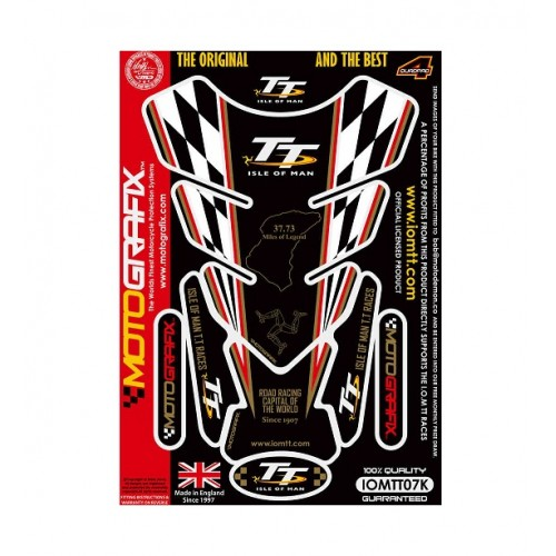 I.O.M TT RACES OFFICIALS LICENSED  BLACK / GOLD 3D GEL TANK PAD PROTECTOR - IOMTT07K