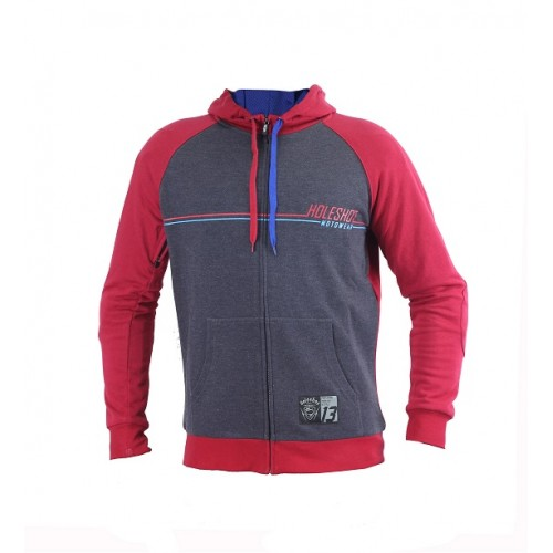 HOLESHOT - THE CLURIT MOTORCYCLE RIDING HOODIE - BURGUNDY/GREY