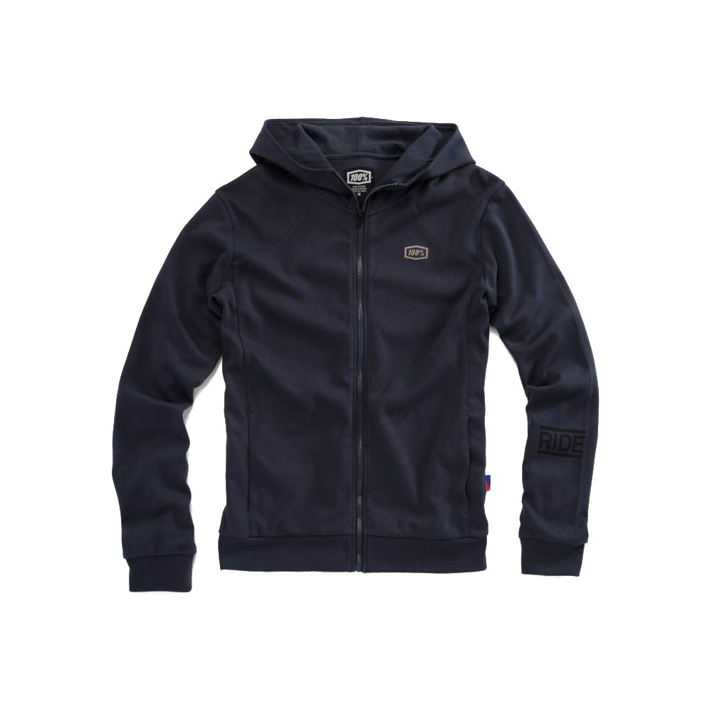 100% - FLEECE - CHAMBER ZIP HOODED SWEATSHIRT - NAVY