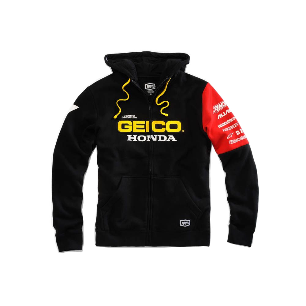 100% - FLEECE - FACTORY HOODED SWEATSHIRT - GEICO/HONDA - BLACK