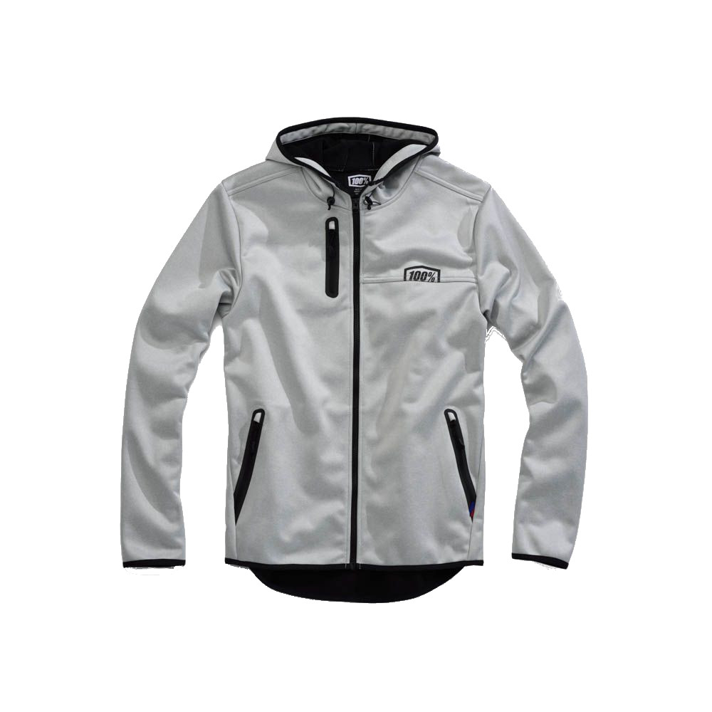 100% - FLEECE - MISSION SOFTSHELL JACKET HOODED - GREY