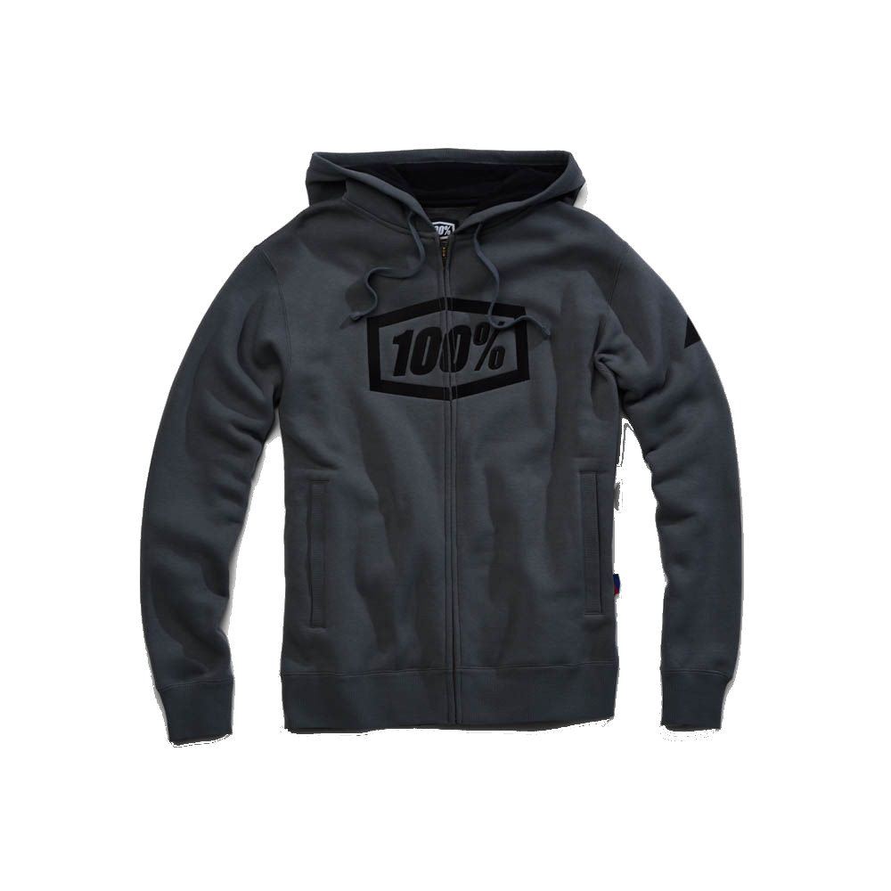 100% - FLEECE - SYNDICATE ZIP HOODED SWEATSHIRT - STEEL GREY
