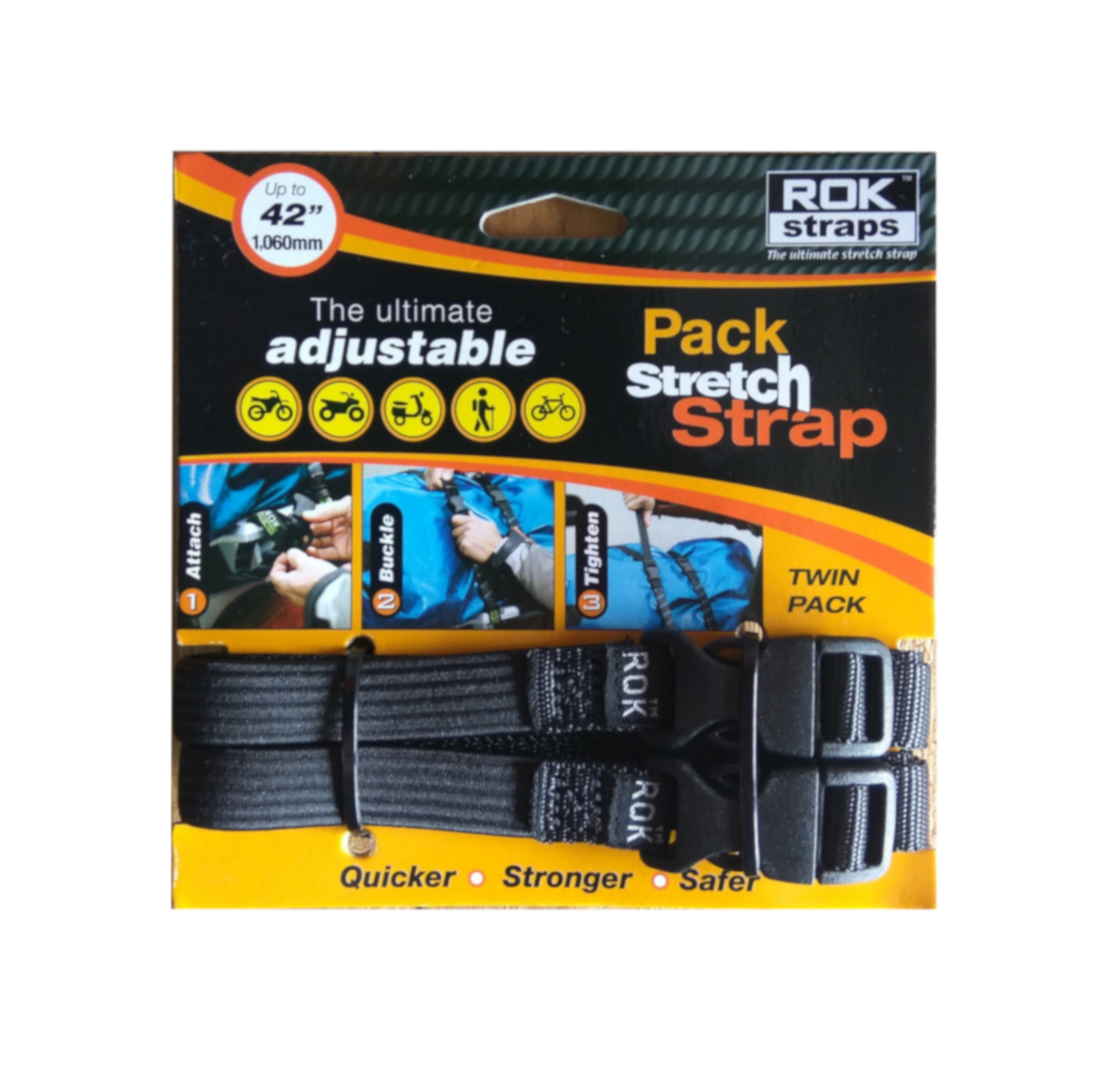 ROK STRAPS - MOTORCYCLE STRETCH STRAP 42'' 1060MM CRUISER BLACK