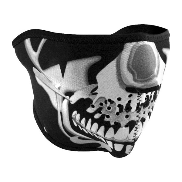HALF MASK NEOPRENE CHROME SKULL