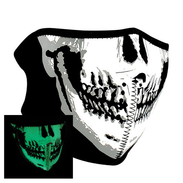 HALF MASK NEOPRENE GLOW IN THE DARK SKULL FACE