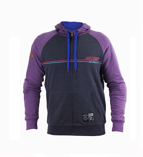 HOLESHOT - THE CLURIT MOTORCYCLE RIDING HOODIE - VIOLET/GREY
